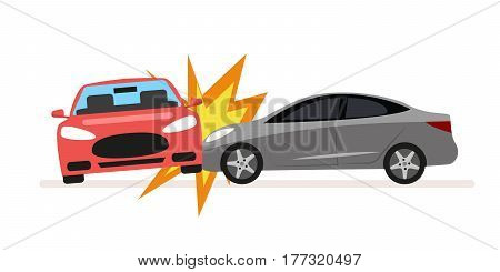 Collision of cars. Car crash involving two cars. A drunk or inconsiderate driver caused a serious traffic accident. Flat illustration isolated on white background
