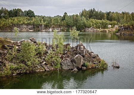 Rocky Coast of a natural a calm lake