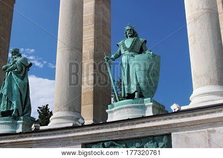 BUDAPEST, HUNGARY - AUGUST 08, 2012: Sculpture of king Charles Robert (Kiss Gyorgy 1905). Millennium Monument on the Heroes Square. Charles I was King of Hungary and Croatia from 1308 to his death.