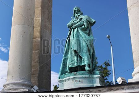 BUDAPEST, HUNGARY - AUGUST 08, 2012: Sculpture of king Bela IV (Kollo Miklos 1905). Millennium Monument on the Heroes Square. Bela IV was King of Hungary and Croatia between 1235 and 1270.