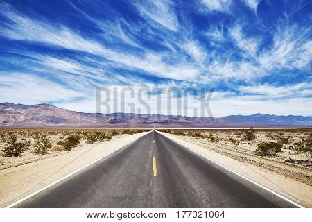 Endless Desert Road In The Death Valley.