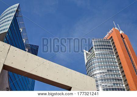 Vienna, Austria - August 14, 2016: Modern Architecture Of Vienna Donau City Complex On A Beautiful S