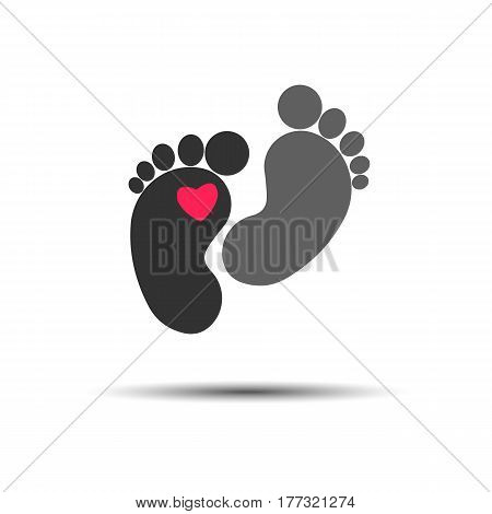 Texture of human footprint on white. Child or toddler's colorful pair of footprint vector graphic.