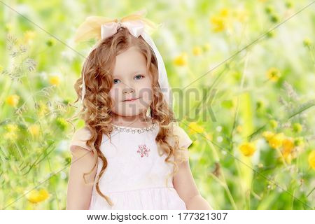Beautiful, chubby little girl with long, blond, curly hair.Dressed in a pink dress and a bow in her hair.Close-up.Summer white green blurred background.