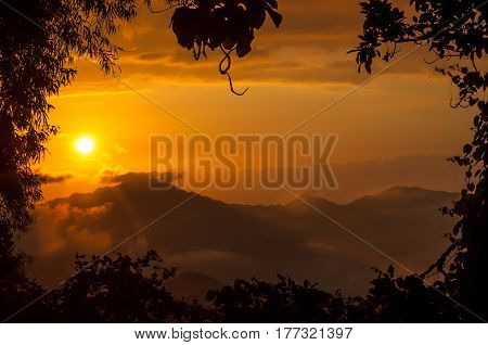 orange sunset in the mountains of Colombia
