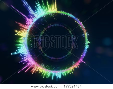 A Detailed Colorful Multicolored Equalizer In A Circle. Audio Spectrum