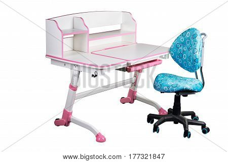 Blue school desk and blue chair stand on white isolated background