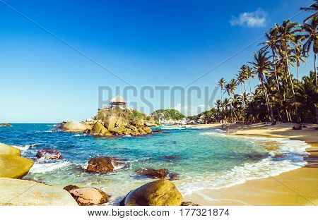 bay by Tayrona national park in Colombia