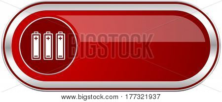 Battery red long glossy silver metallic banner. Modern design web icon for smartphone applications