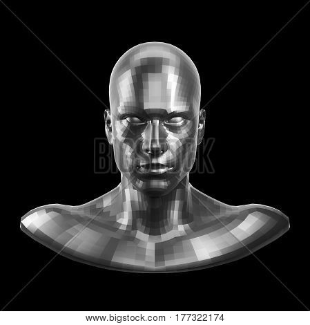 3D rendering. Faceted silver robot face with eyes looking front on camera. Isolated on black background