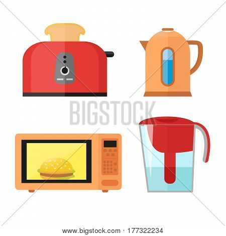 Kitchen equipment set isolated on a white background in a flat style for cooking breakfasts. Toaster with hot toast, electric kettle, microwave and water filter