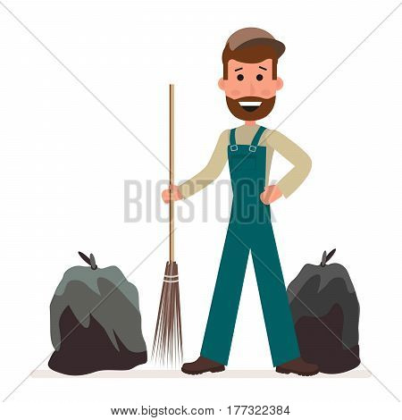 Janitor with a broom and garbage bags isolated on a white background in a flat style. Cartoon character