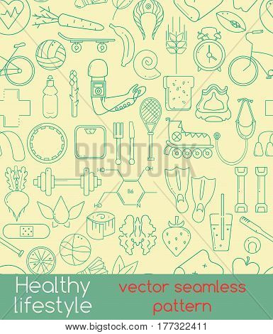 Vector seamless pattern of outline icons for your web design. Pattern includes icons of healthy food and sport. Healthy lifestyle concept in flat design.
