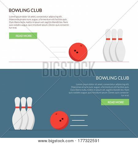 Banner or cap for the site of a bowling club set isolated on a colored background in a flat style