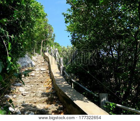 Footpath with stairs at Khao Sam Roi Yot national Park Thailand