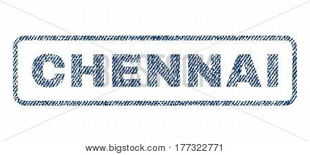 Chennai text textile seal stamp watermark. Blue jeans fabric vectorized texture. Vector tag inside rounded rectangular shape. Rubber emblem with fiber textile structure.