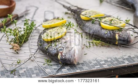 Fresh Whole Sea Bream With Thyme And Salt