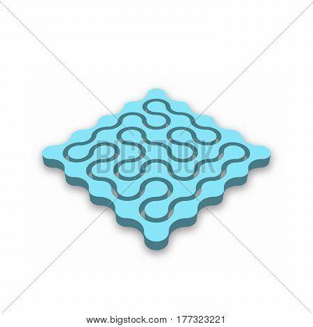 Closed 3D maze. Blue abstract labyrinth with dropped shadow isolated on white background. Corporate business logotype identity. Vector illustration.