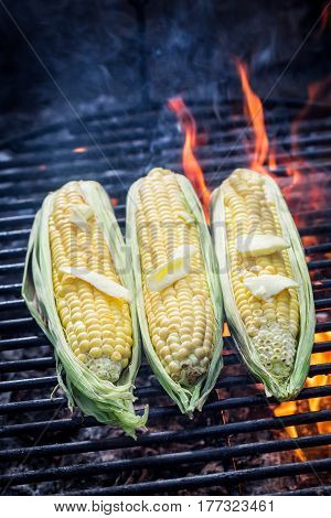 Tasty Corncob On Grill With Butter And Salt
