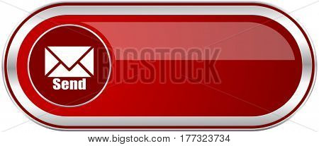Send red long glossy silver metallic banner. Modern design web icon for smartphone applications