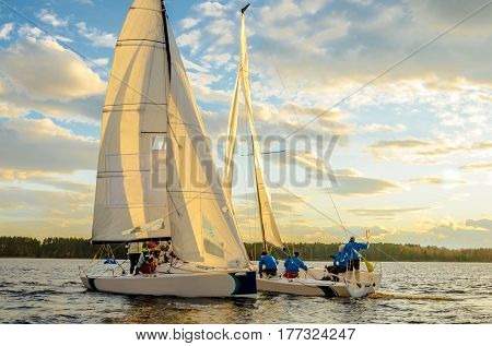 Konakovo , April 19 :  Public open. Team athletes participating in the sailing competition - match race held in Konakovo on river Volga April 19 2016