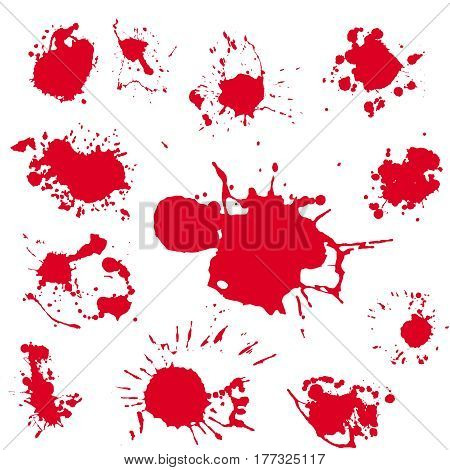 Blood blot realistic vector clipart . Splash red paint