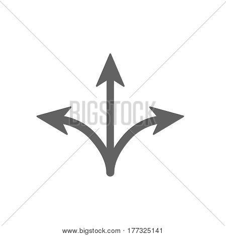 three way icon. Arrow separated on three