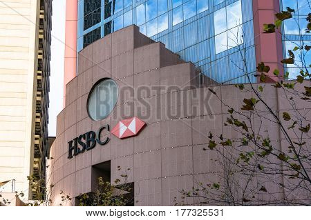 Sydney, Australia - August 4, 2013: HSBC logo on HCBS headquarters building in Sydney Central Business District