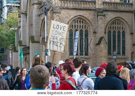 Sydney, Australia - August 4, 2013: People on demonstration against government restriction to migrants and refugees