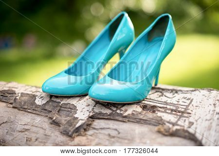 turquoise bridesmaid shoes on the tree green lawn.