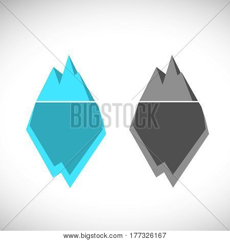 ice berg illustration icon. Ice berg logo colored and monochrome