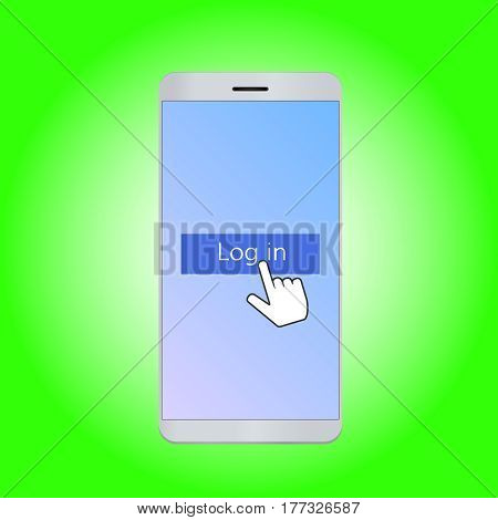 Mobile phone with  log in button  vector illustration