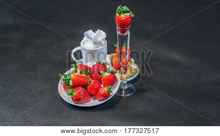 Black Coffee In White Cup, With Croissants On Saucer, Vodka, Strawberry