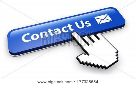 Website contact us button with e-mail icon 3D illustration.