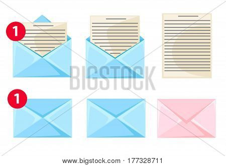 Message Dialog Letter Icon Set Flat Design Style Vector Illustration.
