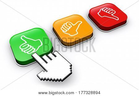 Happy customer clicking on positive feedback button business and marketing abstract concept 3d illustration.