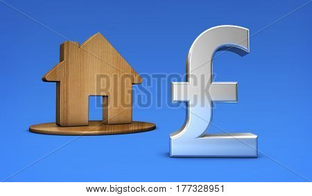 British pound symbol and home icon UK property value and house market prices concept 3D illustration.