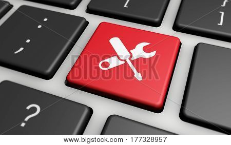 Computer repair service concept with work tools icons and symbol on a red button computer keyboard 3D illustration.