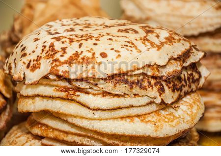 A stack of pancakes while celebrating Russian Shrovetide (pancake week)