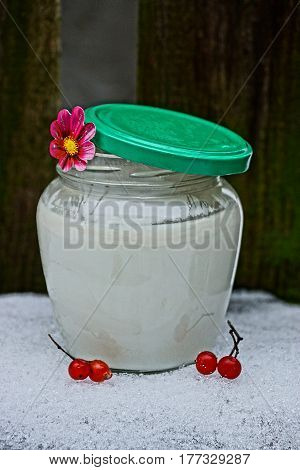 Glass jar with milk, viburnum berries on the snow