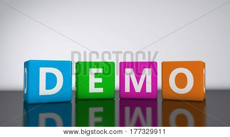 Web and Internet concept with demo word and sign on colorful cubes 3D illustration.