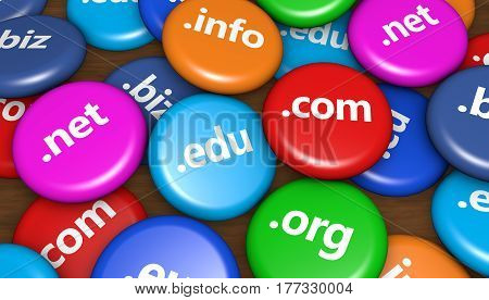 Website and Internet domain name web concept with domains sign on colorful badges 3D illustration background.