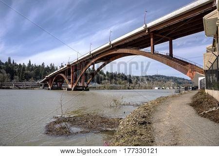 Sellwood bridge crossings and river  in Portland Oregon.