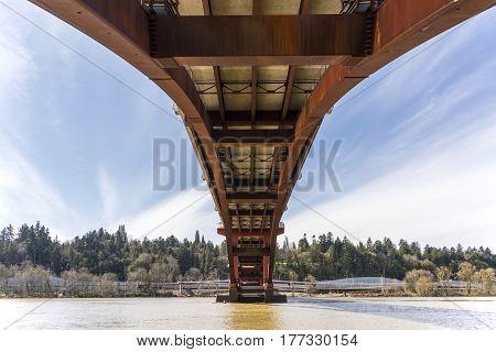 Under the Sellwood bridge crossings in Portland Oregon.