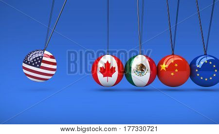 United States of America economy impact on international global market concept 3D illustration.