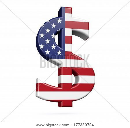 USA flag on dollar sign icon isolated on white background 3D illustration.