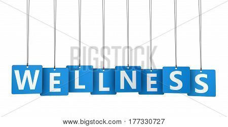 Wellness sign and word on blue paper tags 3D illustration.