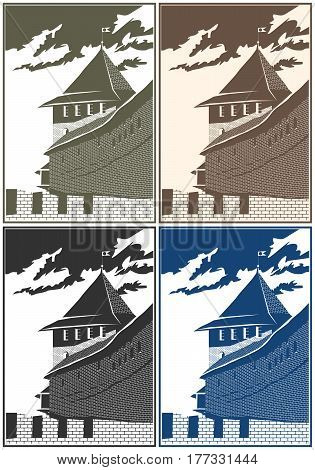 Stylized vector composition on the theme of old castles and fortresses.