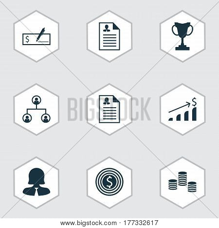 Set Of 9 Hr Icons. Includes Bank Payment, Business Goal, Successful Investment And Other Symbols. Beautiful Design Elements.