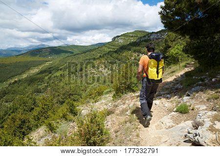 Hiking in Guara Mountains, Huesca Province, Aragon, Spain.